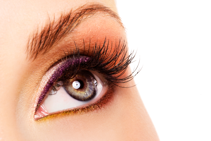 Woman eye with colorful makeup